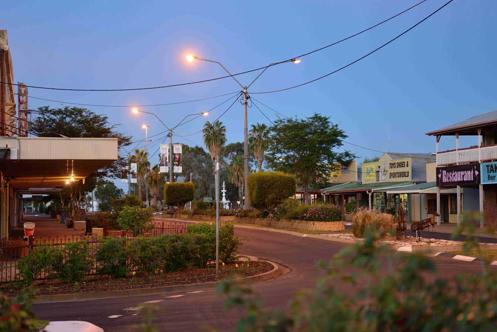 cunnamulla main street at dusk