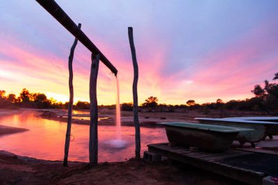 sunset over hot water spring