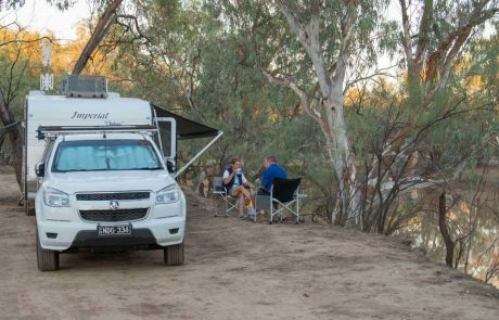 campers next to paroo river