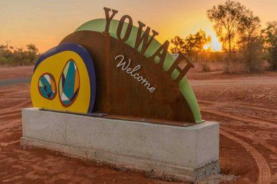 yowah welcome sign